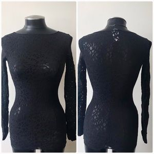 Wolford  Women's Black Lace Long Sleeve top Small